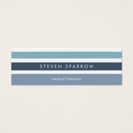 Tarjeta De Visita Mini Blue mint nautical stripes modern simple elegant