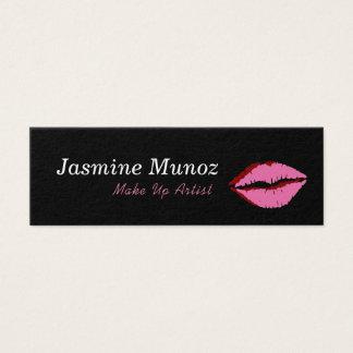 Tarjeta De Visita Mini Componga el beso del lápiz labial del artista