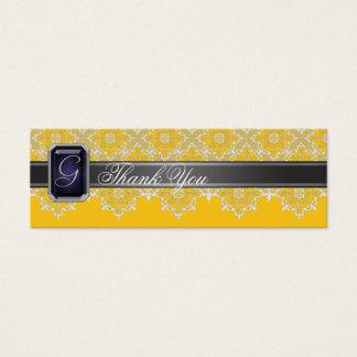 Tarjeta De Visita Mini Cordón negro y amarillo Jeweled casando la