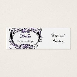 Tarjeta De Visita Mini cupón elegante púrpura, blanco y negro del