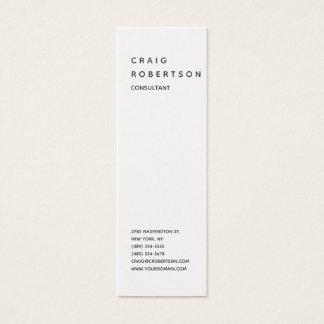Tarjeta De Visita Mini De moda blanco moderno llano minimalista vertical