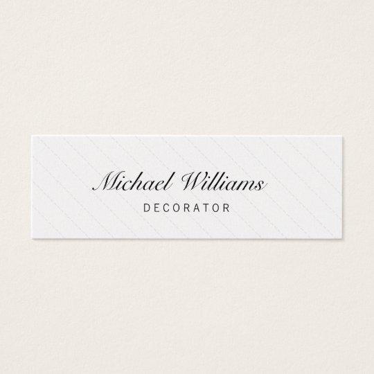 Tarjeta De Visita Mini Decorador - Profesional elegante pequeña blanco