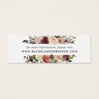 Tarjeta De Visita Mini El Web site rústico del boda de la floración carda
