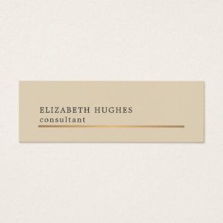 Tarjeta De Visita Mini Falsa línea beige elegante consultor del oro