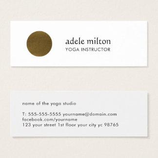 Tarjeta De Visita Mini Falsa yoga de cobre blanca elegante minimalista
