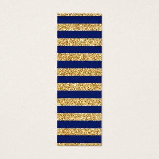 Tarjeta De Visita Mini Falso brillo elegante del oro y modelo de la raya
