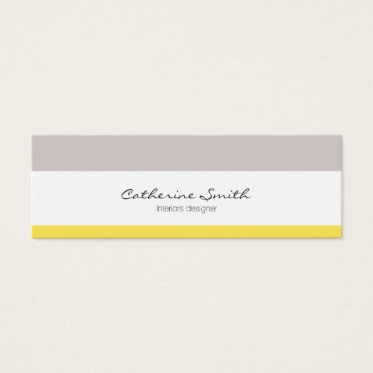 Tarjeta De Visita Mini Grey yellow lines minimalist feminine chic card