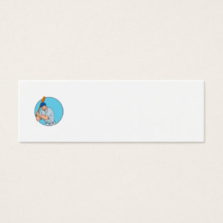 Tarjeta De Visita Mini Jugador de béisbol que celebra el dibujo del palo