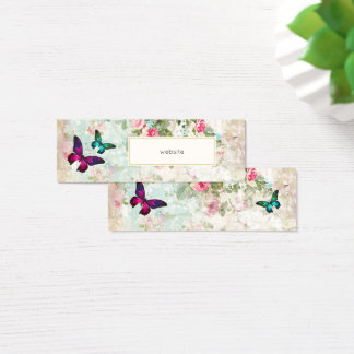 Tarjeta De Visita Mini Mariposa rosada y Web site lamentable de los rosas