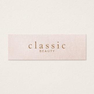 Tarjeta De Visita Mini Mirada de lino del rosa simple y clásico de la