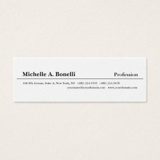 Tarjeta De Visita Mini Moderno minimalista blanco negro llano simple