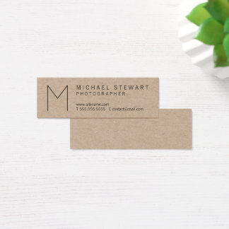 Tarjeta De Visita Mini Papel de Kraft minimalista del monograma del