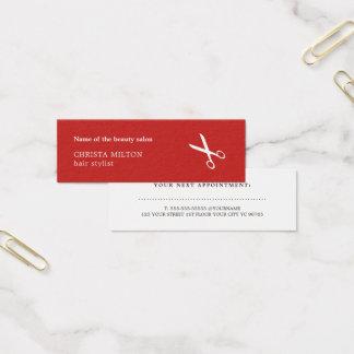 Tarjeta De Visita Mini Peluquero rojo y blanco minimalista de la cita