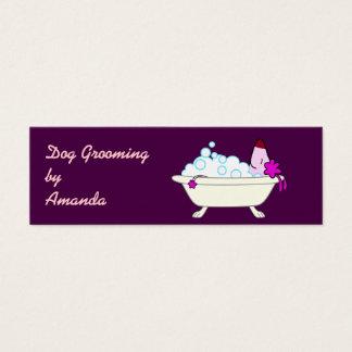 Tarjeta De Visita Mini Perro en la bañera - Groomer del mascota