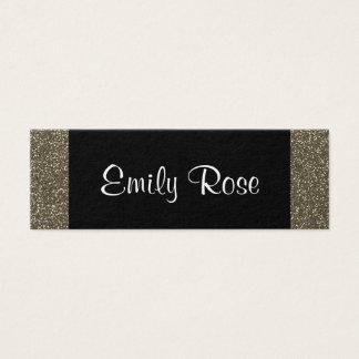 Tarjeta De Visita Mini Purpurina negro moderno de moda simple del oro