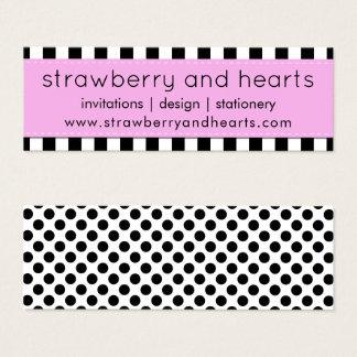 Tarjeta De Visita Mini Rayas, líneas, lunares - rosa negro blanco