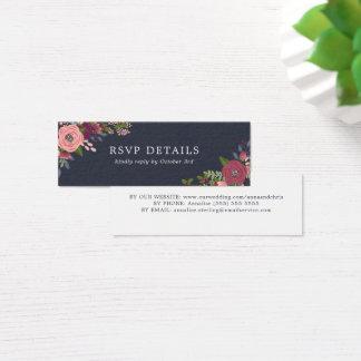 Tarjeta De Visita Mini Se ruborizan y las flores de Borgoña - detalles de