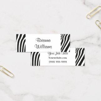 Tarjeta De Visita Mini Simple blanco del negro de moda del estampado de