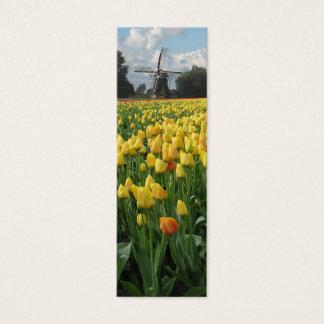 Tarjeta De Visita Mini Tulipanes y molino de viento de la primavera