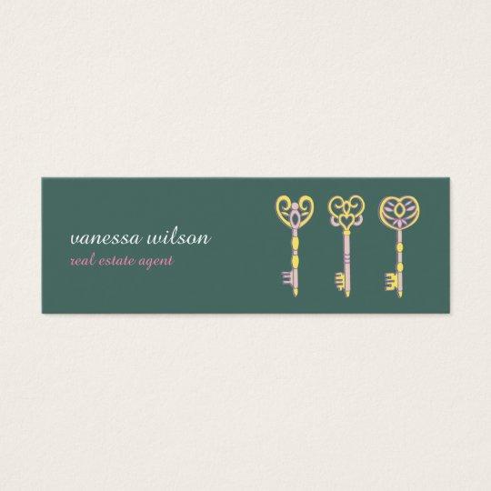 Tarjeta De Visita Mini Vintage old keys antique medieval green visit card