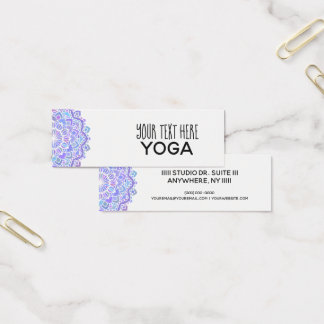 Tarjeta De Visita Mini Yoga púrpura de la mandala de Boho