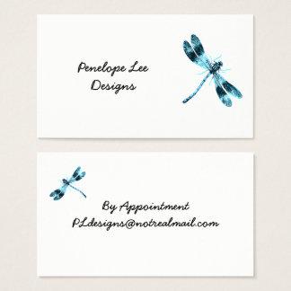 Tarjeta De Visita Minimalist azul de la libélula con clase