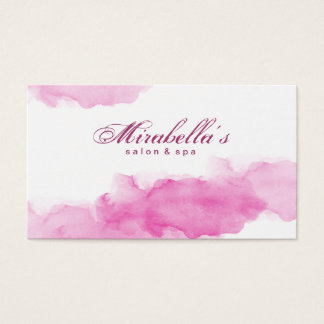 Tarjeta De Visita Minimalist blanco de moda rosado de la acuarela