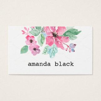 Tarjeta de visita minimalista floral de la