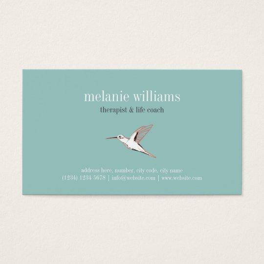 Tarjeta De Visita Mint hummingbird illustration vintage elegant card