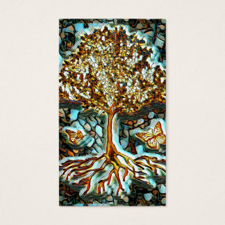 Tarjeta De Visita Mirada del mosaico del vitral con el árbol de la
