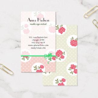 Tarjeta De Visita Moda lamentable, lunares, rosas - verde rosado
