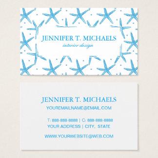 Tarjeta De Visita Modelo de estrellas azul de mar de la acuarela