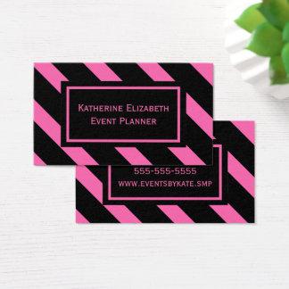 Tarjeta De Visita Modelo diagonal rosado y negro intrépido de las