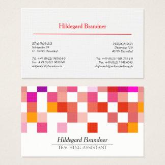 Tarjeta De Visita Modelo moderno rojo del profesor ayudante