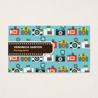 Tarjeta De Visita Modelo retro colorido de las cámaras de Lomo de la