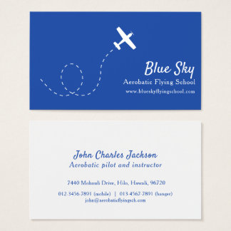 Tarjeta de visita moderna azul blanca