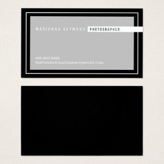 Tarjeta De Visita moderno básico gris/del negro, fotógrafo