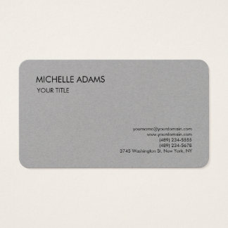 Tarjeta De Visita Moderno profesional simple gris superior llano