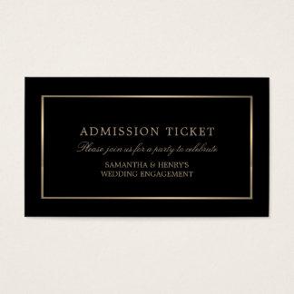 Tarjeta De Visita Moderno y liso, negro y oro, boleto de la admisión