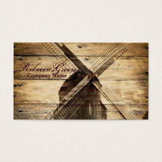 Tarjeta De Visita molino de viento de madera rústico de la granja
