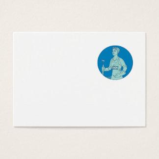 Tarjeta De Visita Mono línea del soldador de la antorcha femenina de