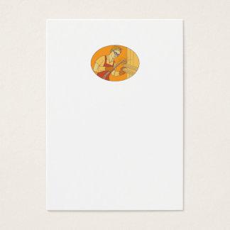 Tarjeta De Visita Mono línea del soldador del vintage femenino de la