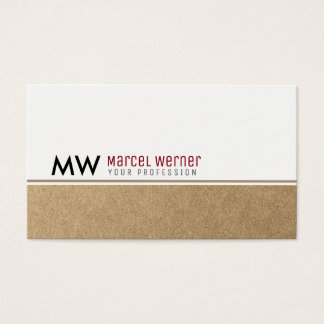 Tarjeta De Visita monograma blanco/falso con clase corporativo de