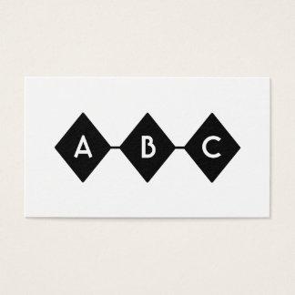 Tarjeta De Visita Monograma blanco y negro de tres diamantes