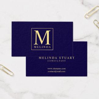 Tarjeta De Visita Monograma elegante de los azules marinos y del oro