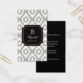 Tarjeta De Visita Monograma gris de marfil elegante elegante de Ikat