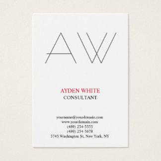 Tarjeta De Visita Monograma gris rojo blanco negro simple llano
