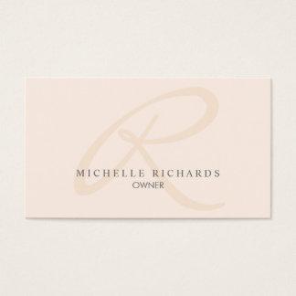 Tarjeta De Visita Monograma minimalista elegante rosado del susurro