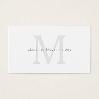 Tarjeta De Visita Monograma moderno blanco quebradizo