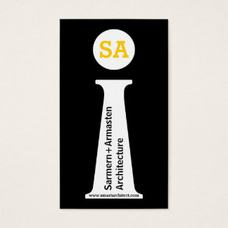 Tarjeta De Visita Monograma negro del arquitecto, blanco, amarillo